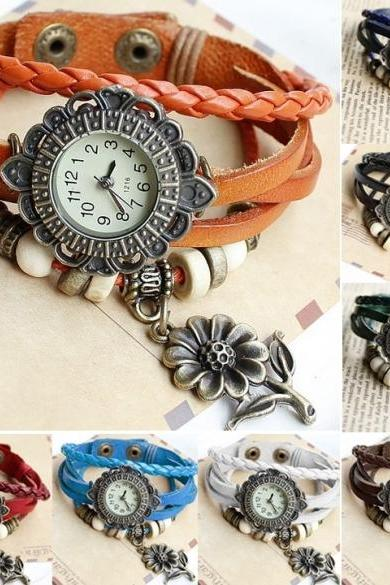 Quartz Sunflower Weave Wrap Synthetic Leather Bracelet Women's Wrist Watch