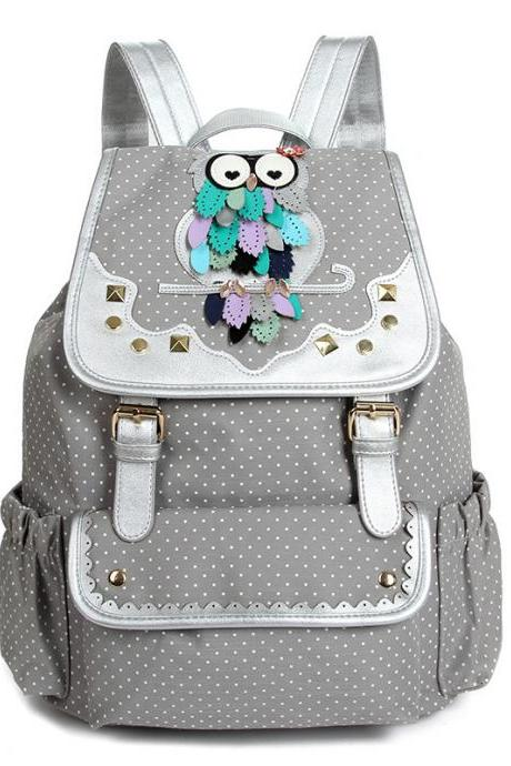 Drawstring Fashion Owls Rivet Canvas Backpack