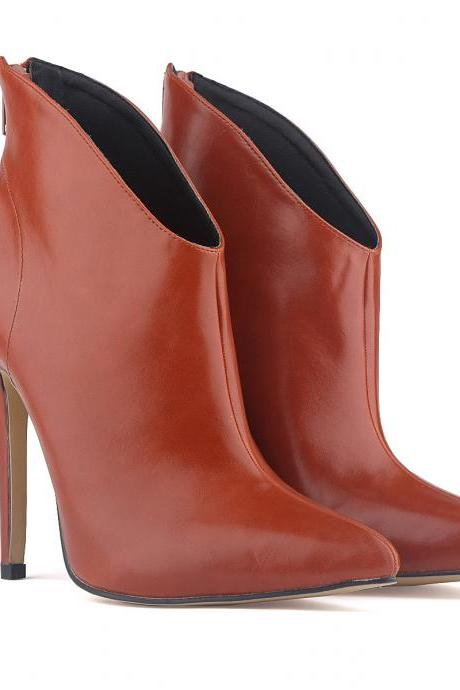 Faux Leather Pointed-Toe High Heel Ankle Boots Featuring Zipper Back