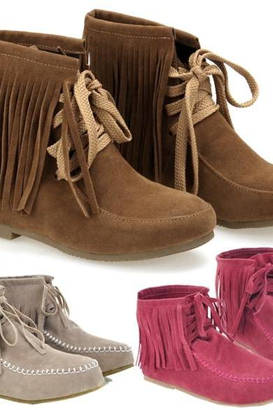 Women's Tassels Lace UP Flat Ankle Shoes Boots