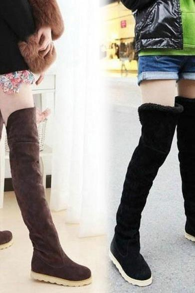 Fashion Women's 2 Colors Over The Knee Flat Heel Warm Autumn Winter Long Boots Size 38-40