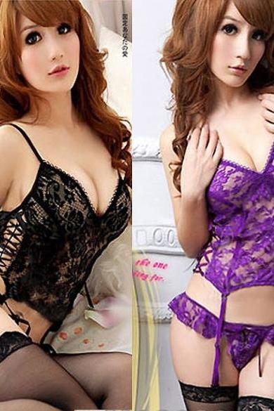 Women Lingerie Dress Intimate Nightwear Underwear + G-string