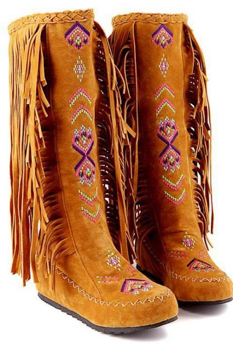 Fashion Increased Bohemia Style Embroidery Leisure Tassel Boots