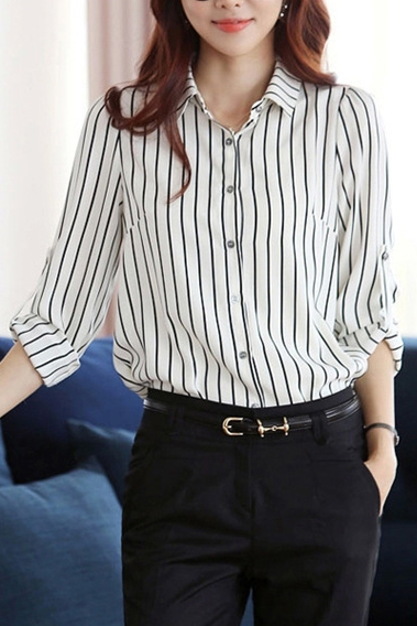 Striped Turn-down Collar Long Sleeves Slim Plus Size Chiffon Blouse