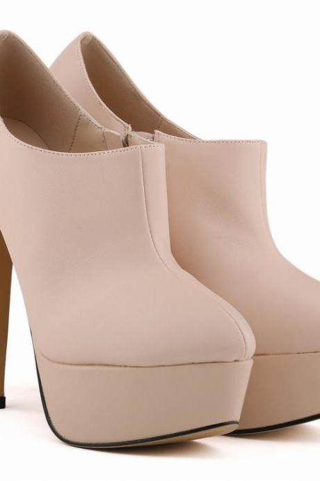 Fashion Solid Color High Heels Nightclub Ankle Boots