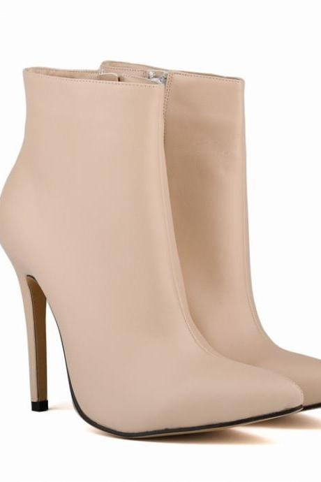 Matte Faux Leather Pointed-Toe High Heel Ankle Boots