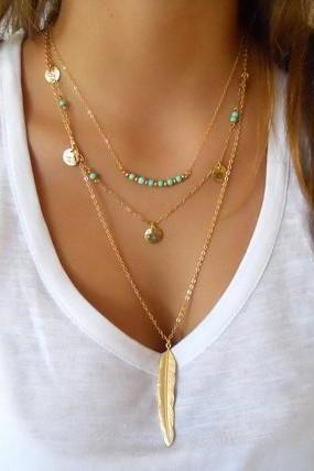 Street Snap Feather Tassels Sequins Multilayer Necklace