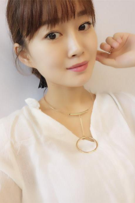 Luxury Beauty Korean Style Circle Tassels Necklace