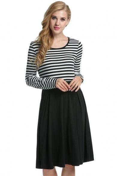 Women Long Sleeve Pleated Dress Striped High Waist Slim Casual Party Knee Dress