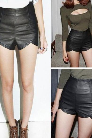 Women's Slim Black Zip Synthetic Leather Shorts Casual Club Wear