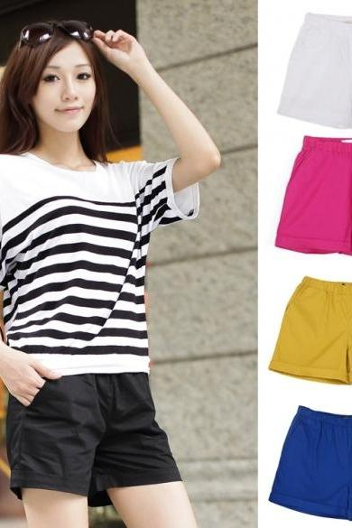 New Women Fashion Korean Style Candy Color Solid Elastic Waist Casual Shorts