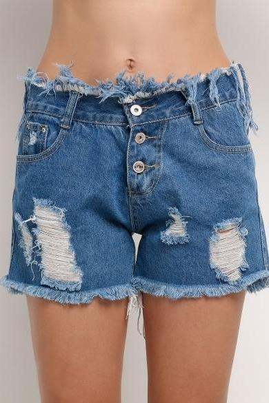 Casual Women High Waisted Ripped Hole Tassel Loose Denim Shorts