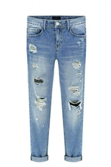 Women's Ripped and Distressed Skinny Jeans , Denim Trousers