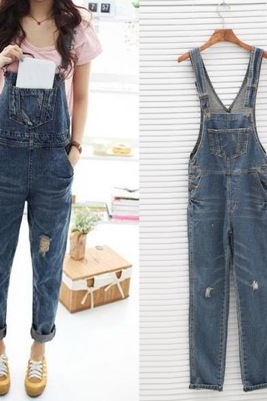 Women's Ladies Baggy Denim Jeans Full Length Pinafore Dungaree Overall Jumpsuit