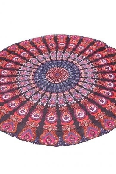 New Bohemia Style Multi-colors Chiffon Cover-up Swimwear Round Wrap Beach Towels Yoga Mat