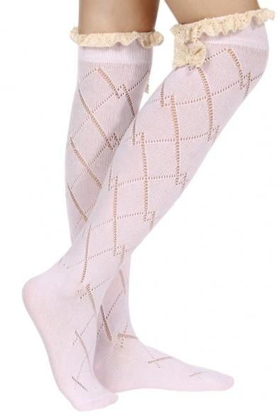 Hot European Style Women Sweet Lace Bowknot Spring Autumn Winter Over Knee Socks