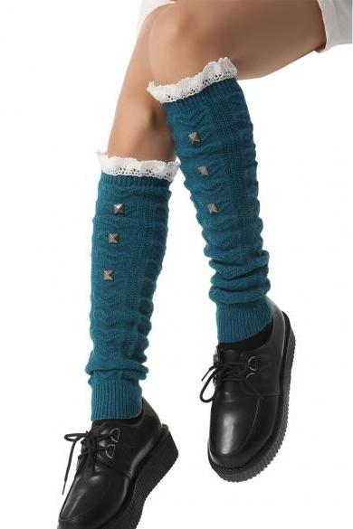 Zeagoo Winter Autumn Hot Fashion Women Lady Knee High Legwarmer Knit Crochet Leg Warmer