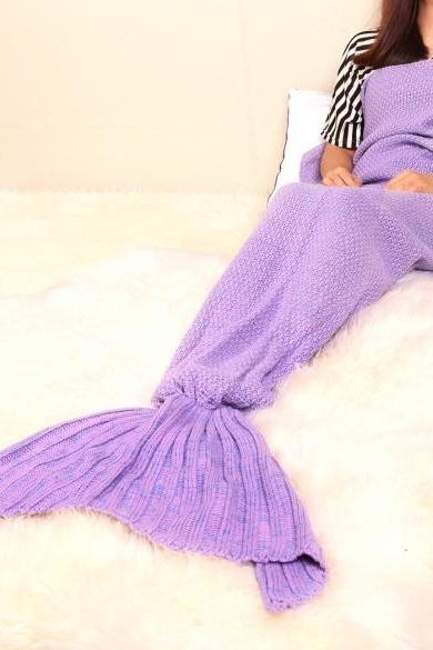 Adult Handmade Knitted Crochet Mermaid Tail Shape Blanket Sleeping Sofa Blanket