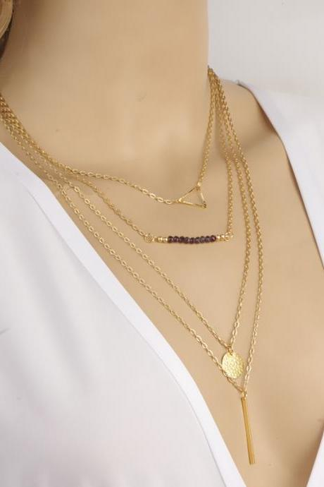 Crystal Beads Sequins Multilayer Necklace