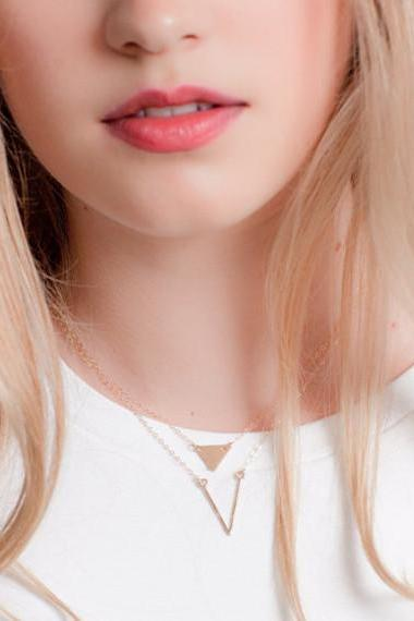 V Pendant Triangle Sequins Multilayer Necklace