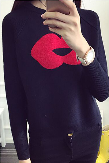 Lip Pattern Splicing Pullover Short Loose Sweater
