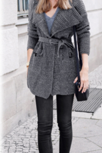 Hooded Thick Belt Pockets Cardigan Long Sweater