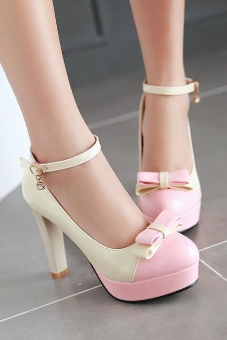Sweet Bowknot Chunky Heel Shallow Single Shoes
