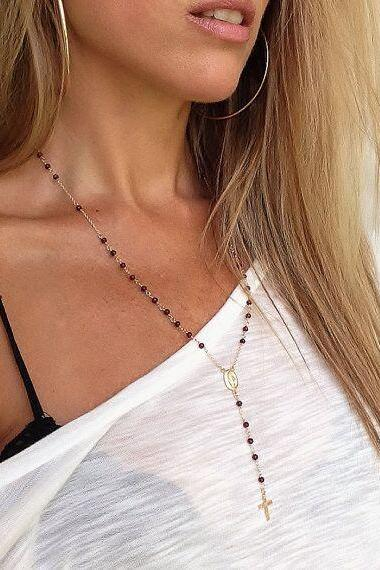 Handmade Beaded Jesus Cross Tassel Necklace