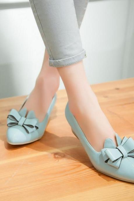 Sweet Candy Color Bowknot Pointed Shoes