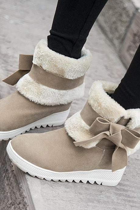 Warm Bowknot Folding Tube Fur Snow Boots