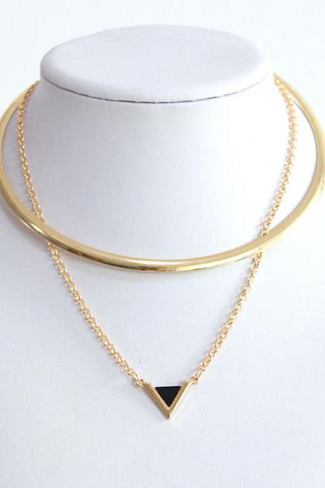 Fashion geometric triangle Pendant Necklace