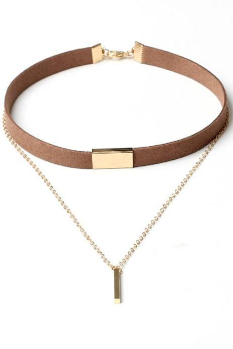 Gold Bar Layer Choker Necklace