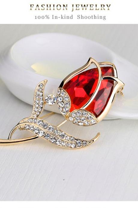 Fashion flower tulip glass diamond brooch