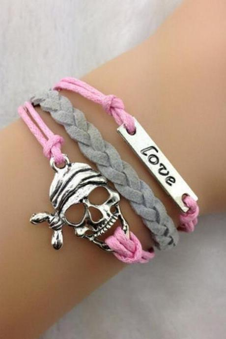Skull LOVE Colorful Leather Cord Bracelet