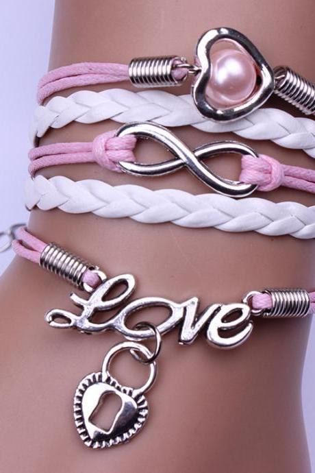Peach Heart Lock Love Pink Woven Bracelet