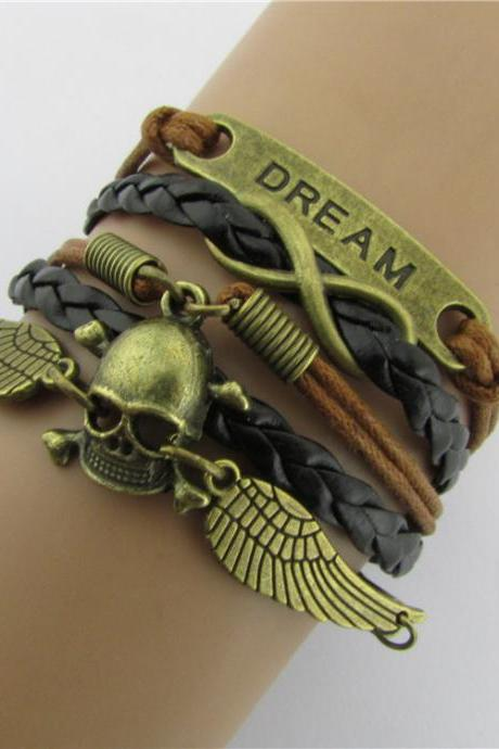 Angel Wings Skull Multilayer Woven Handcuffs Bracelet