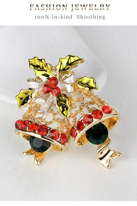 KC gold bells full diamond brooch