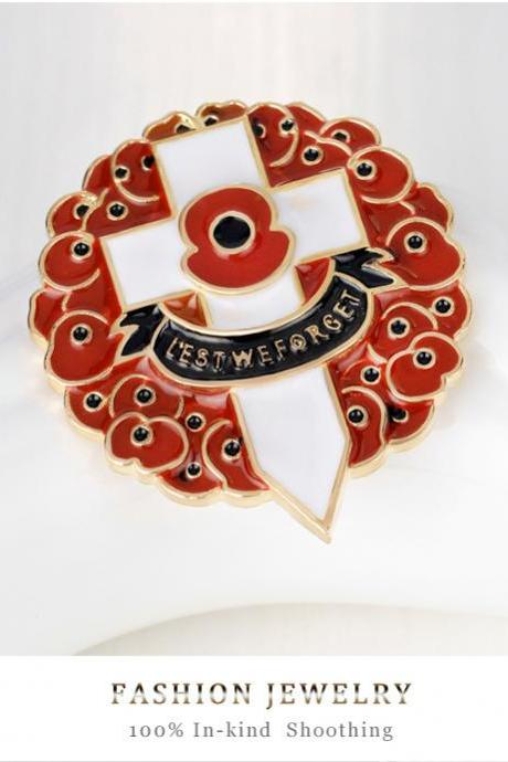 Poppy flower brooch cross