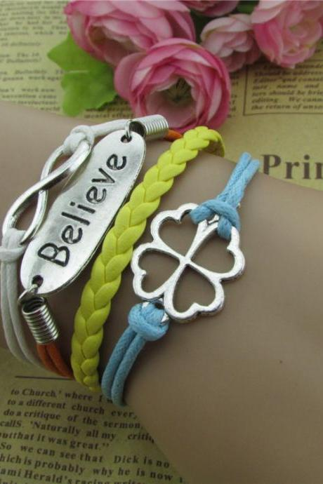 Bright Clover Multilayer Woven Bracelet