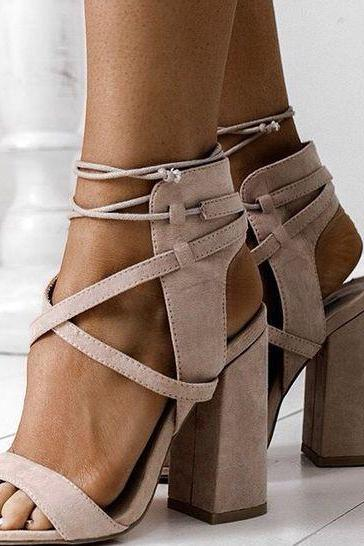 Open Toe Strappy Suede Sandals with Chunky High Heel - Blue / Green / Beige