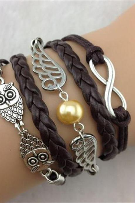 Black Owl Wings Fashion Multilayer Woven Bracelet