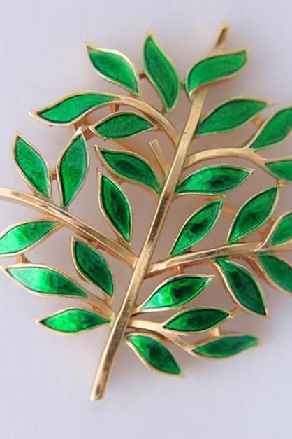 Antique style classic Mori leaves Brooch