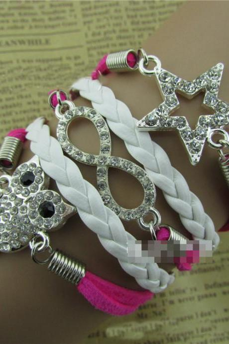 Fashion Crystal Owl Star Woven Bracelet