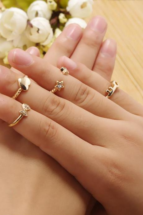 Crystal Stars Bowknot Key Hearts Suit Ring
