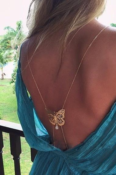 Sexy Back Butterfly Pearl Tassel Droplets BodyChain