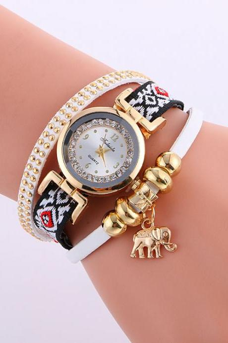 Classic Elephant Beads Pendant Watch