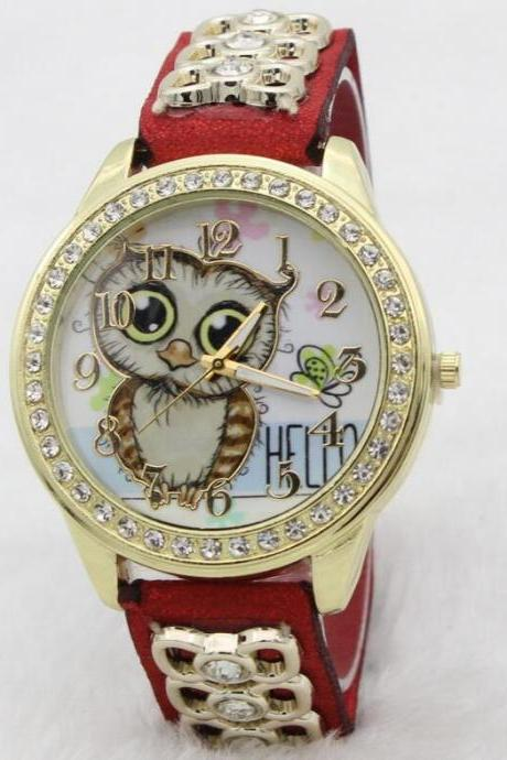 Owl Print Bowknot Chain Watch