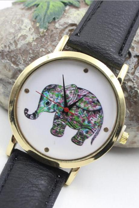 Colorful Elephant Leather Quartz Watch