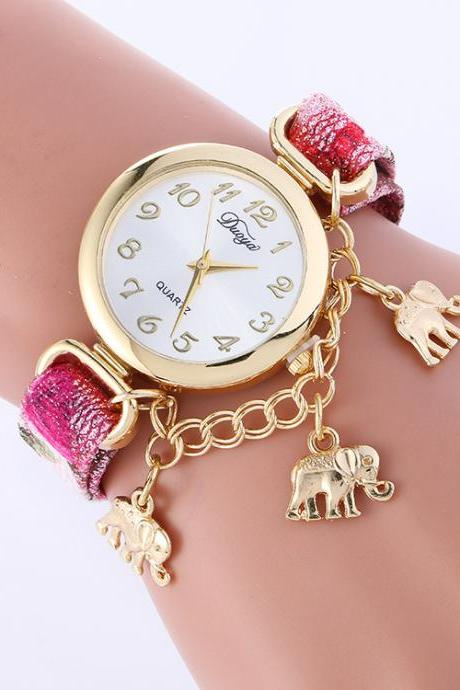 Unique Strap Elephant Pendant Watch