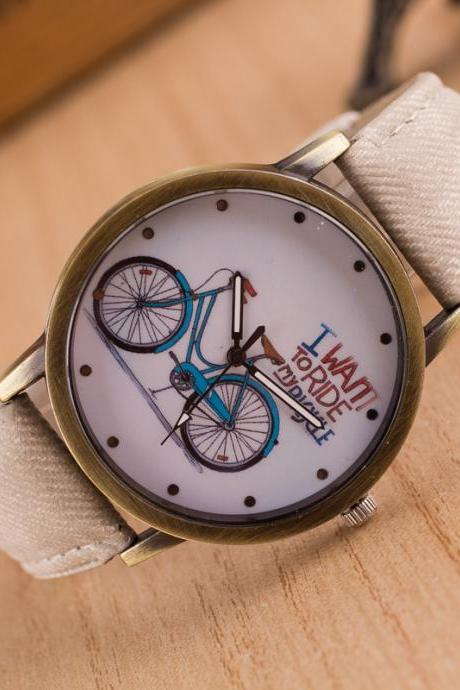 Ride Bike Pattern Denim Strap Watch